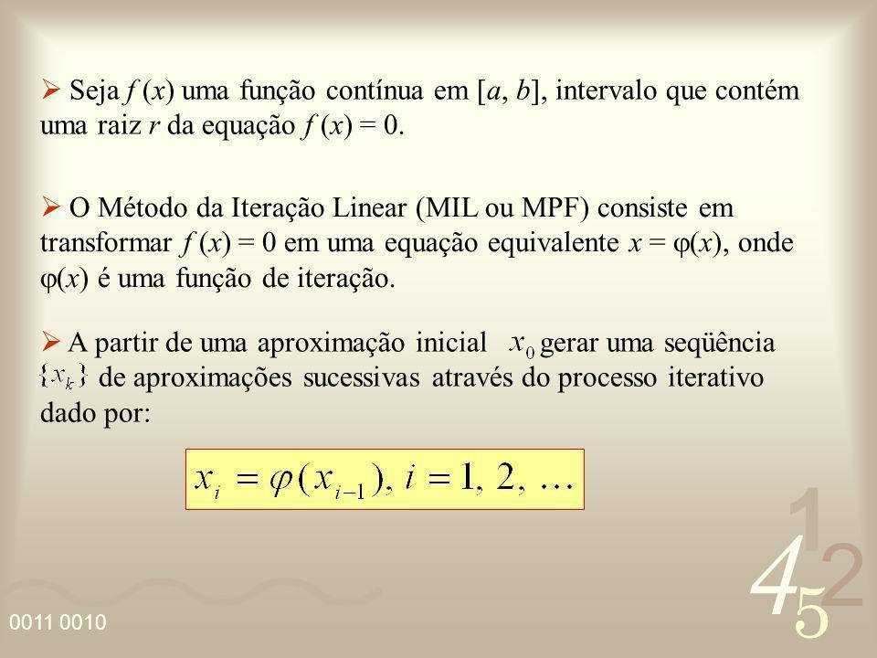 Seja f (x) uma função contínua em [a, b], intervalo que contém uma raiz r da equação f (x) = 0.